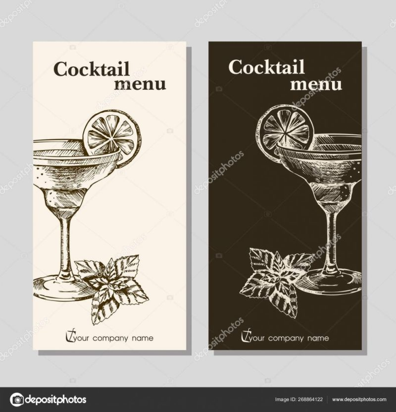 cocktails menu card design printable