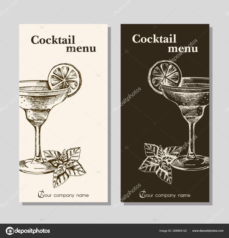 cocktails menu card design printable
