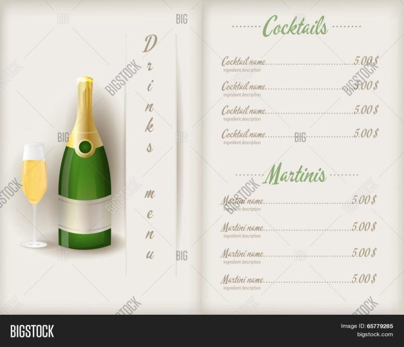 drink menu template vector