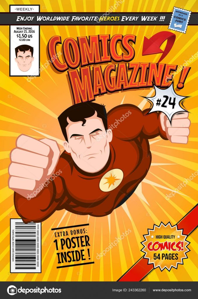 editable comic book cover template with super hero character