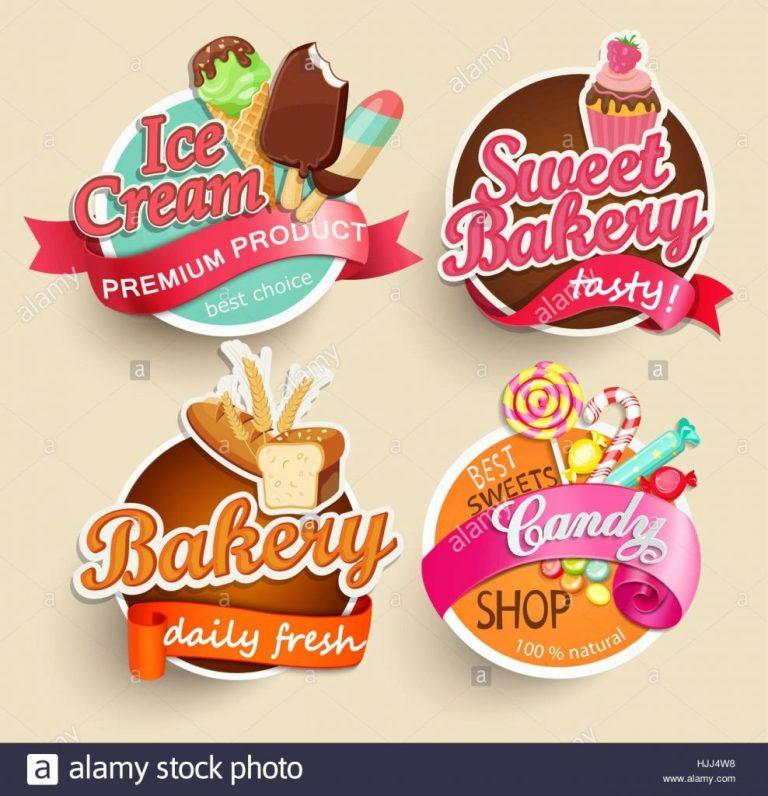 food label or sticker bakery ice cream