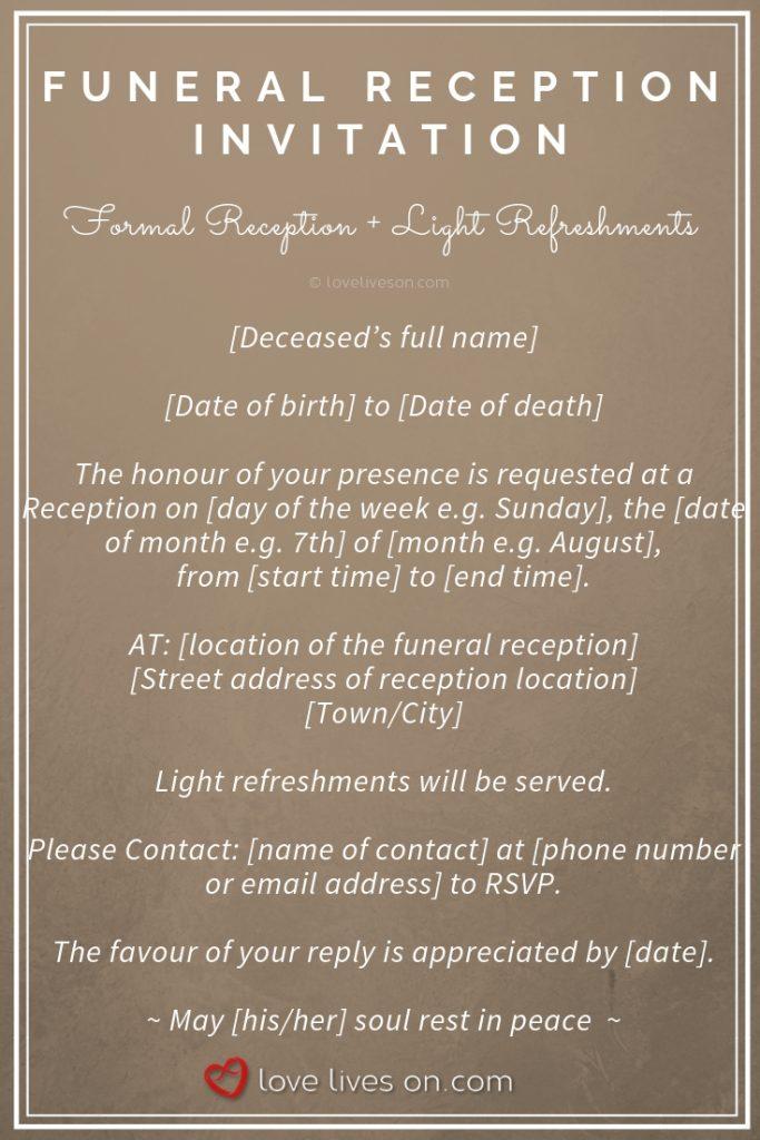 funeral reception invitations