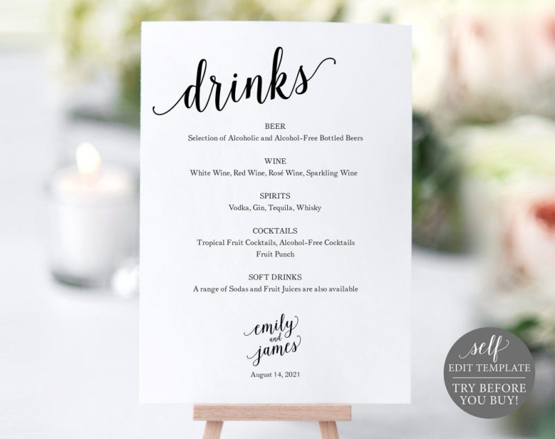 menu sign wedding bar