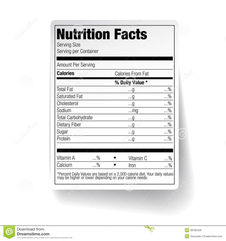 nutrition facts food label vector