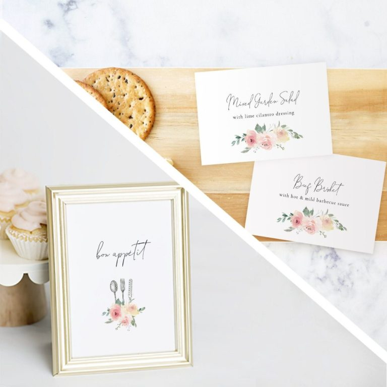 printable floral buffet label template