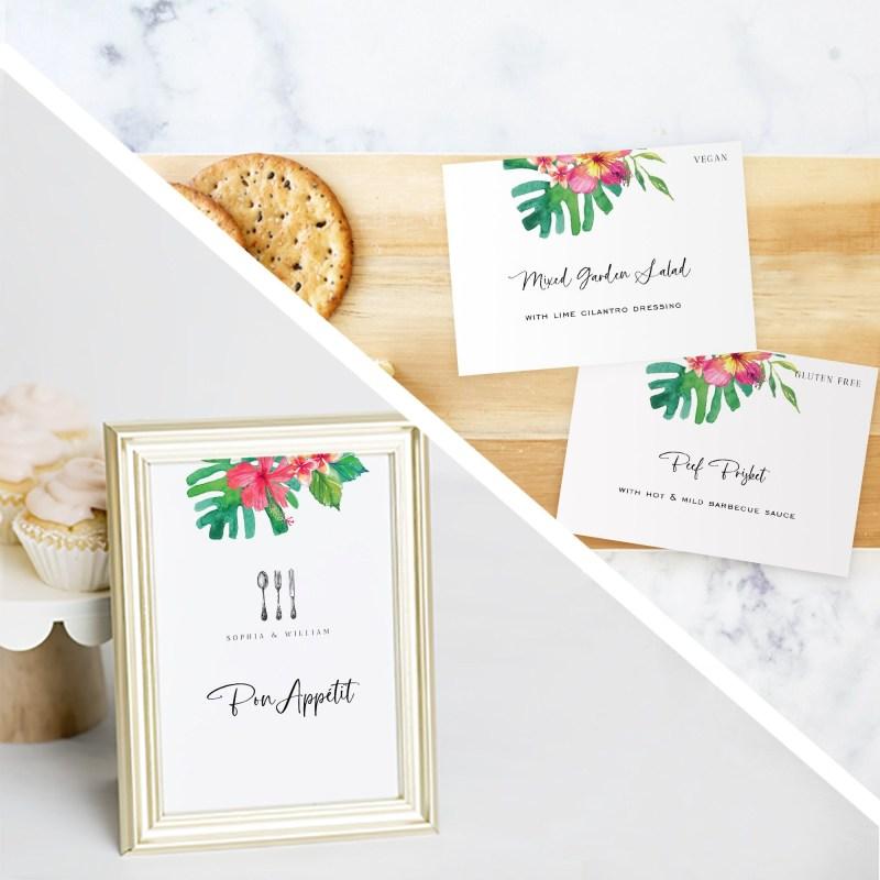 printable tropical flower buffet label