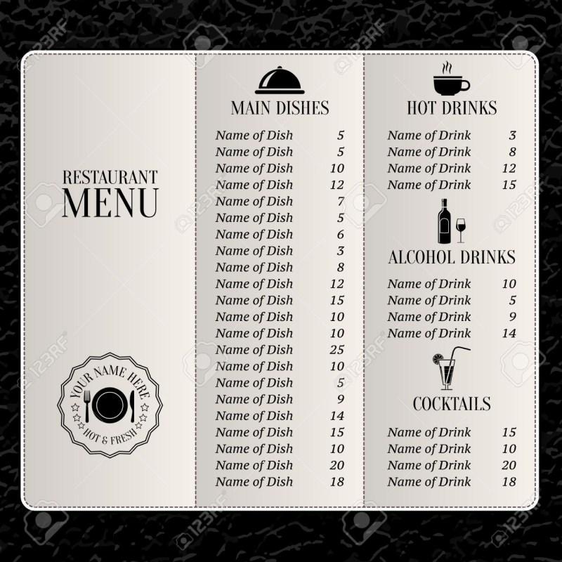 restaurant menu list