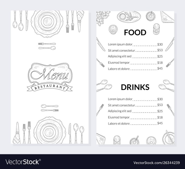 restaurant menu template food and drinks