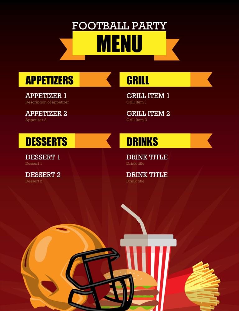 simple menu template google docs