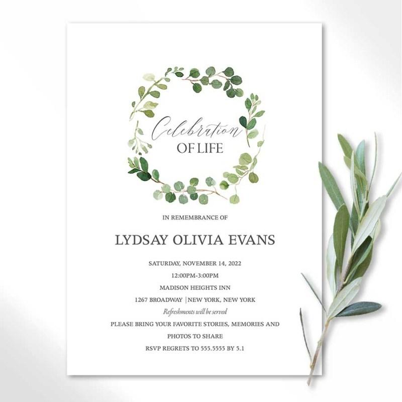 white funeral invitation