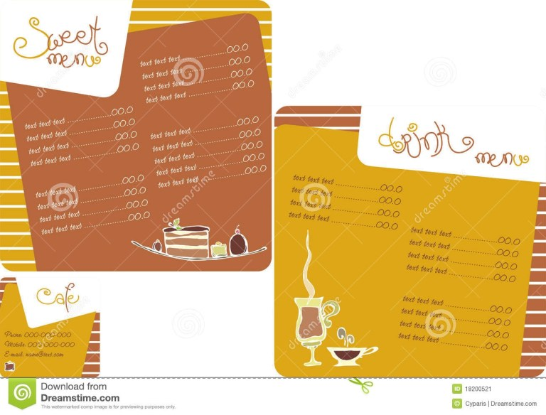 word template menu for coffee shop