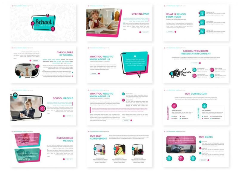 school from home keynote template fresh and clean