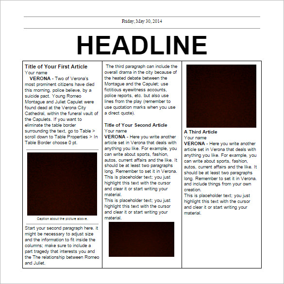 8 newspaper templates psd english designs