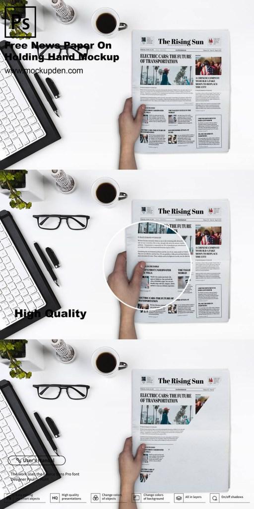free hand holding newspaper mockup psd template mockup den