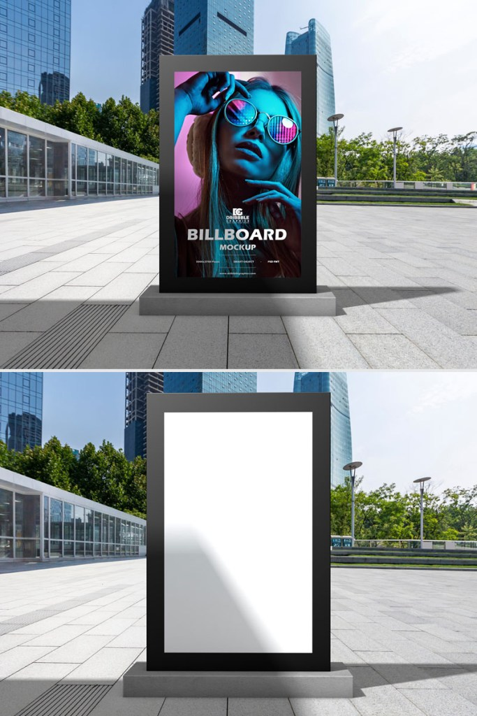 free outdoor office vertical billboard mockup all at