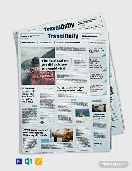 free travel newspaper template psd apple pages