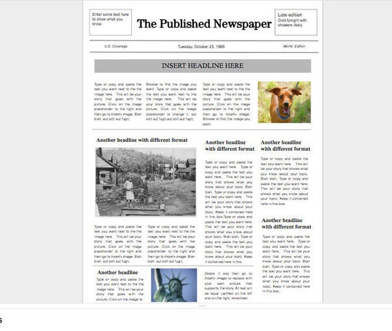 google doc newspaper template etsy