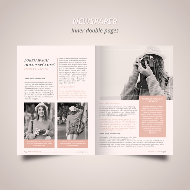 newspaper template with photographer free psd file