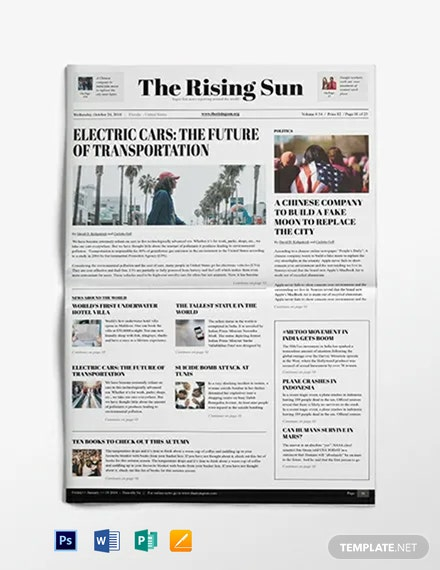 political newspaper template word psd apple pages