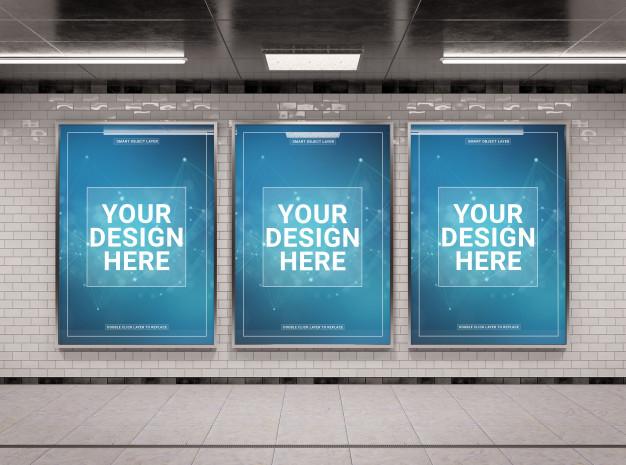 premium psd three vertical underground billboard in