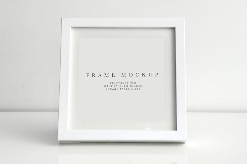 frame mockup 159 white square photo frame mockup styled