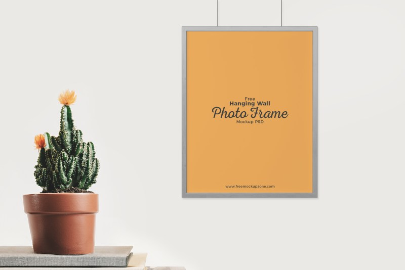 free hanging wall photo frame mockup psdfree mockup zone