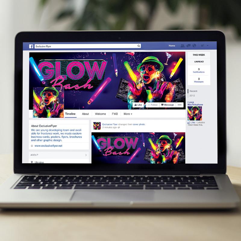 glow bash premium flyer template facebook cover