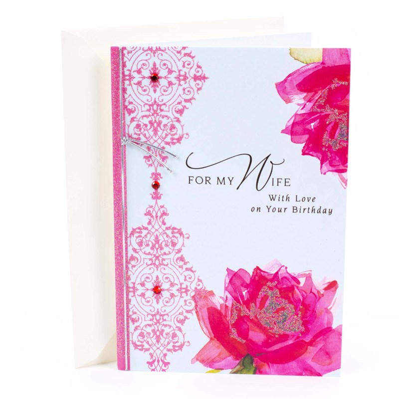 hallmark roses with pattern birthday greeting card to