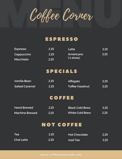 black and gold elegant coffee shop menu templates canva