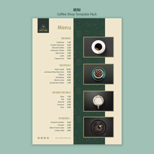 coffee shop menu template pack free psd file