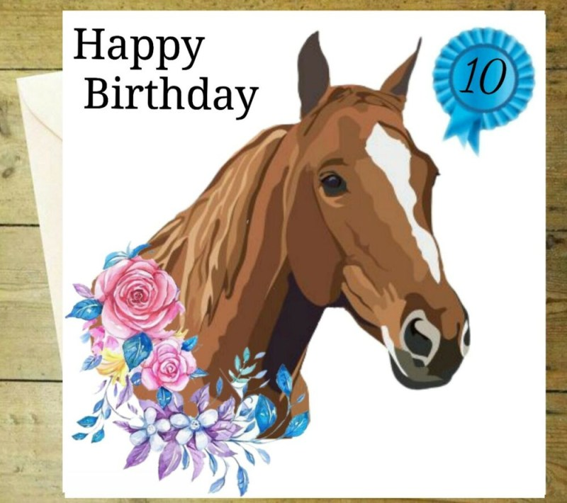 happy birthday age horse flowers riding card floral