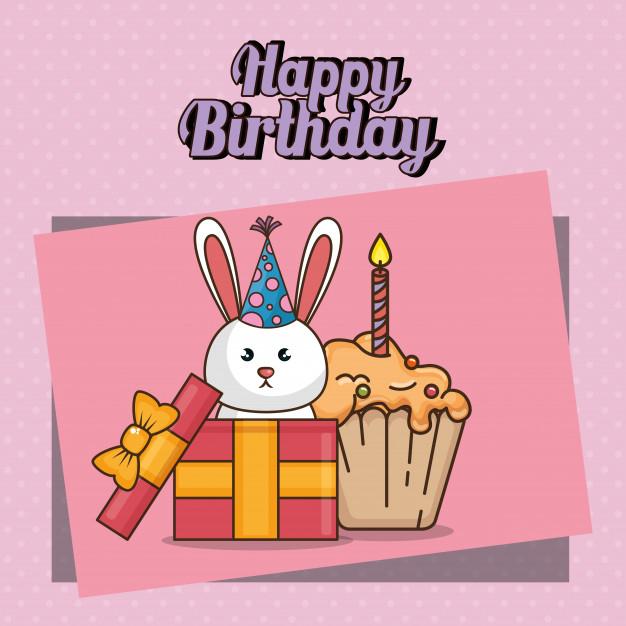 happy birthday card with cute bunny free vector