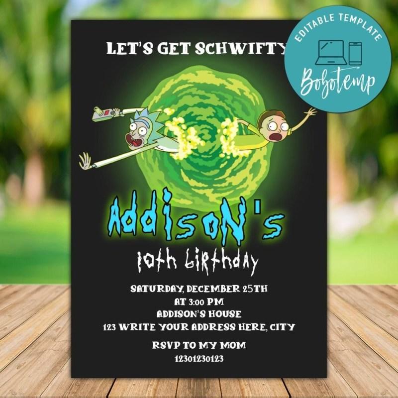printable rick and morty birthday invitation instant