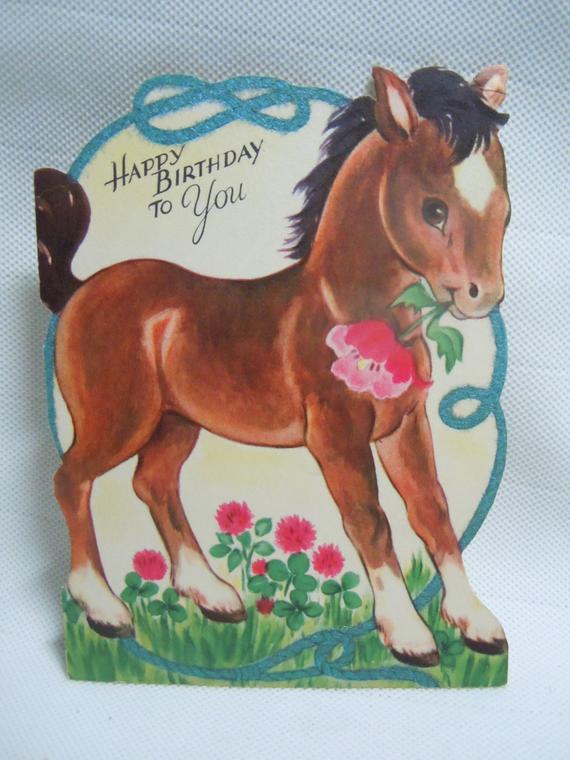 vintage die cut horse birthday greeting card 1940s flocked