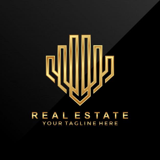 3d luxury modern real estate logo design premium vector