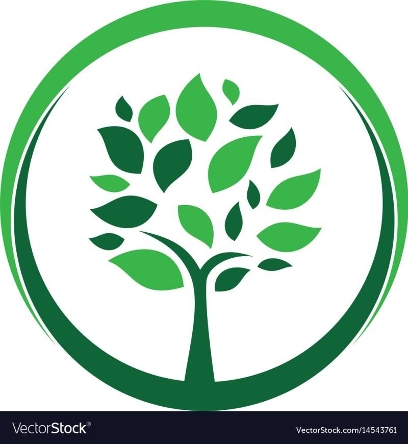 circle tree landscapes nature logo design vector image