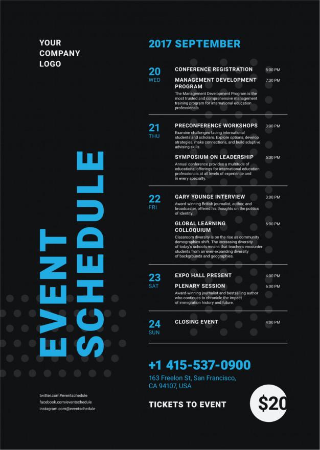 event schedule poster template premium vector