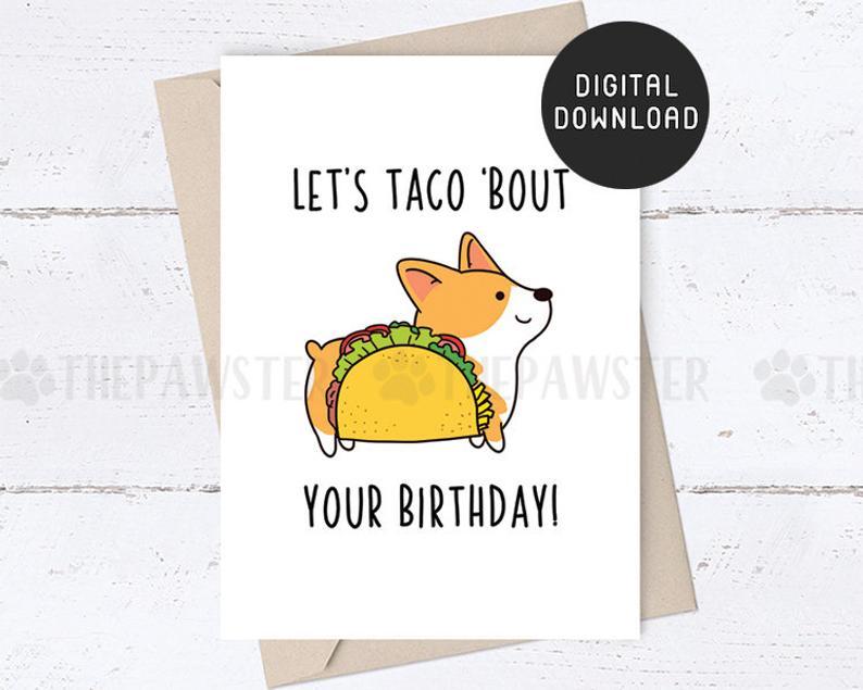 printable birthday card corgi funny happy birthday cards