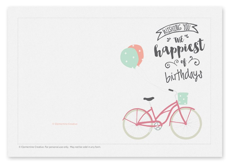 printable birthday cards bicycle completing simple and
