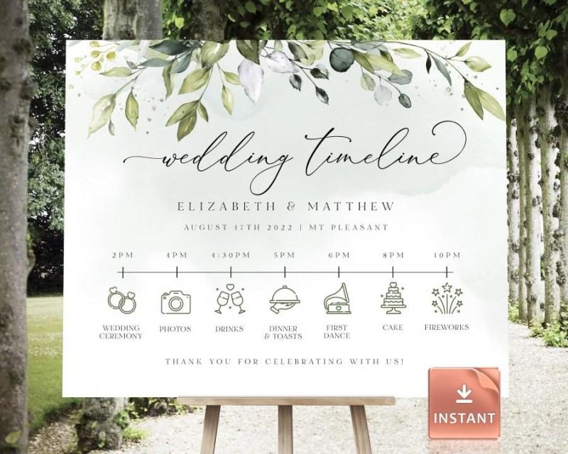 reese customizable wedding timeline poster editable