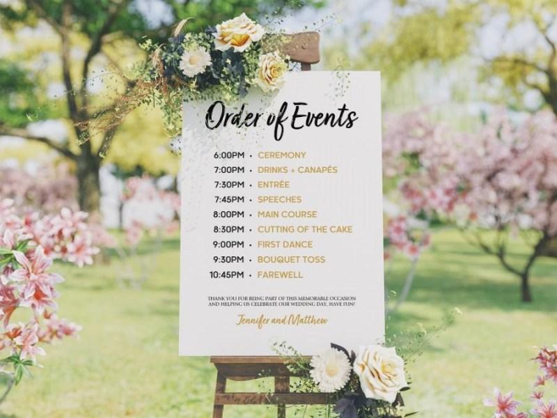 wedding program template order of events sign wedding