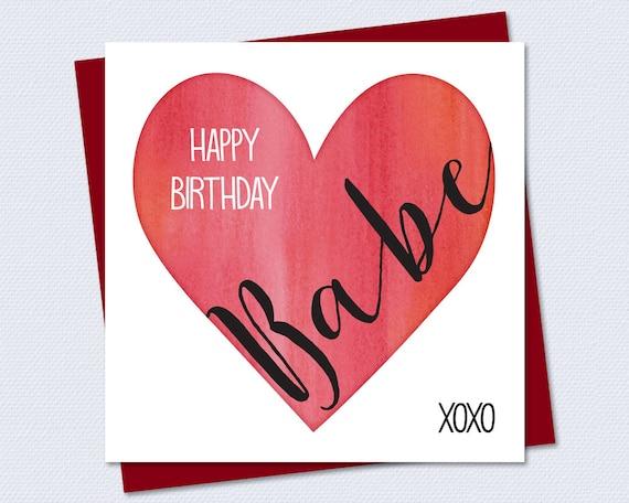 birthday card happy birthday babe wife riverraindesigns
