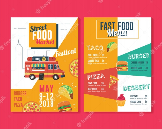 food truck flyer and menu template premium vector