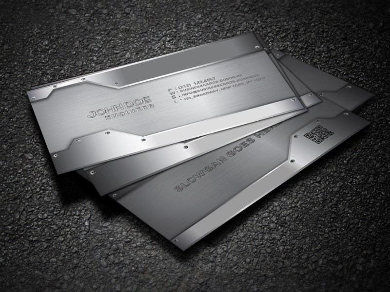free metal business card template for photoshop business