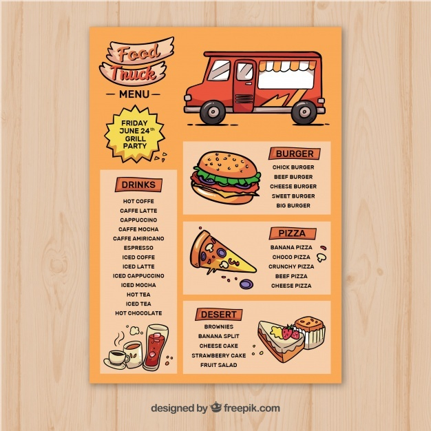 hand drawn food truck menu template vector free download