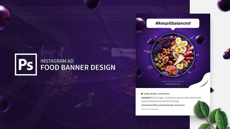 instagram ad food banner design in adobe photoshop cc