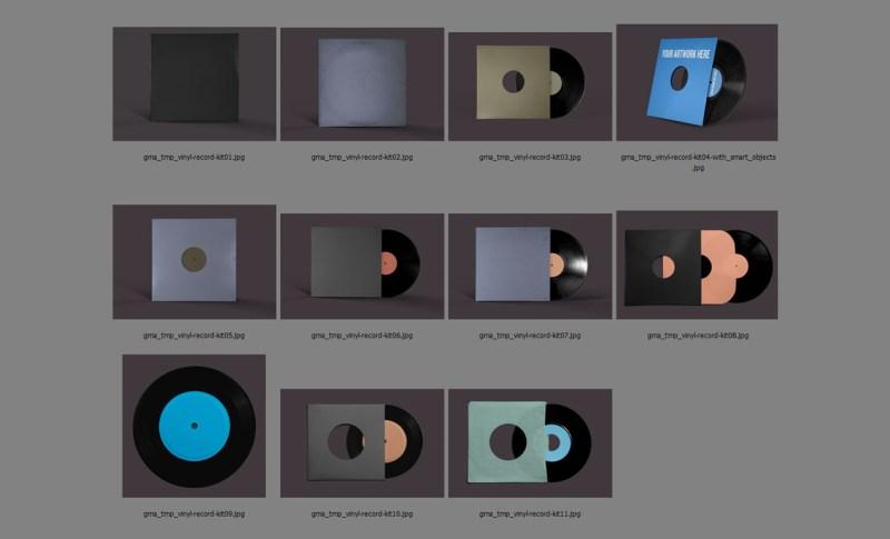 photoshop vinyl records mockup template pack