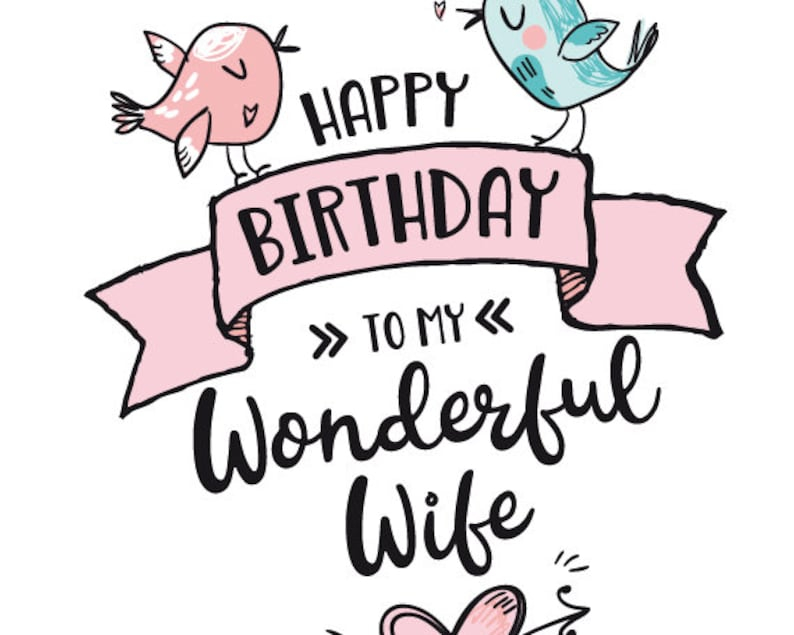 printable birthday card for wife happy birthday to my etsy
