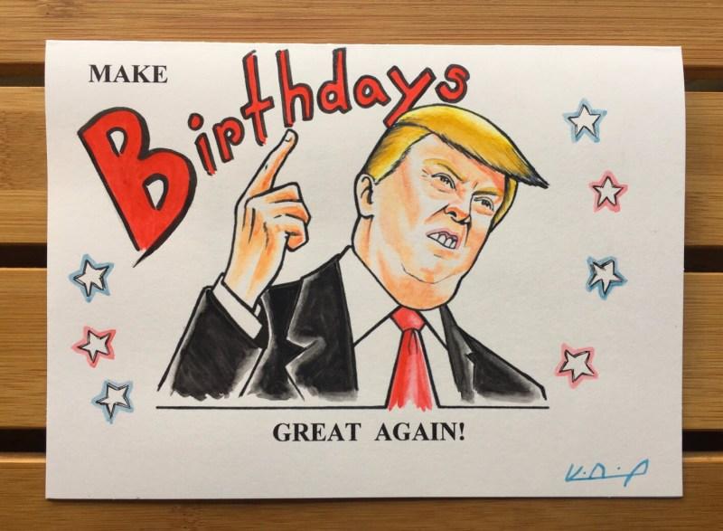 trump birthday card personalized personalised meme card