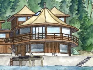 Watercolor house renderings